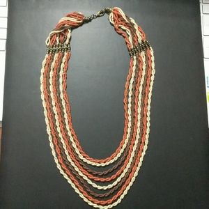 Jewelry - Cream Orange Brown Twisted Seed Bead Necklace